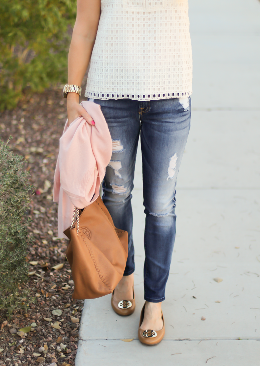 Eyelet Ruffle Sleeve Blouse, Distressed Skinny Jeans, Blush Cashmere Cardigan, Tan Leather Flats, Tan Leather Chain Strap Tote, Banana Republic, 7 for All Mankind, Tory Burch 5
