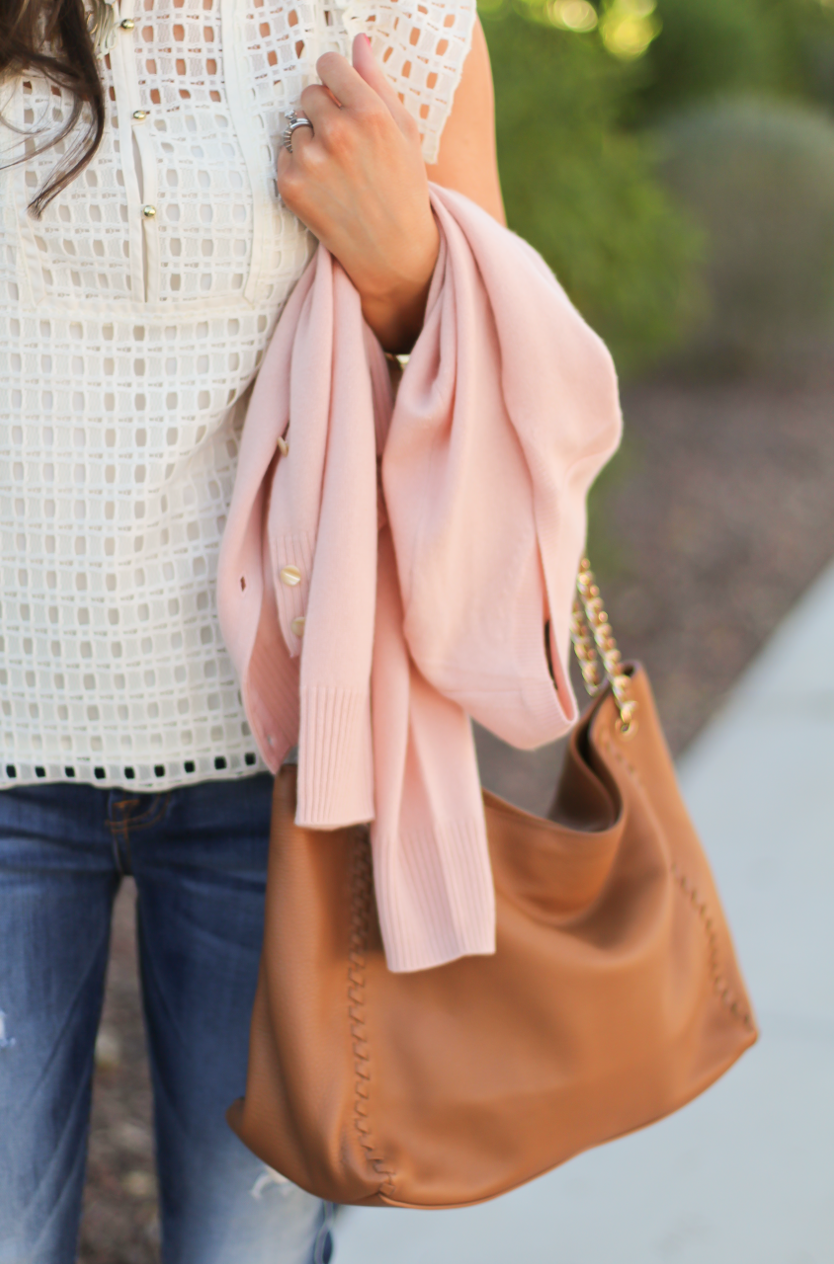 Eyelet Ruffle Sleeve Blouse, Distressed Skinny Jeans, Blush Cashmere Cardigan, Tan Leather Flats, Tan Leather Chain Strap Tote, Banana Republic, 7 for All Mankind, Tory Burch 9