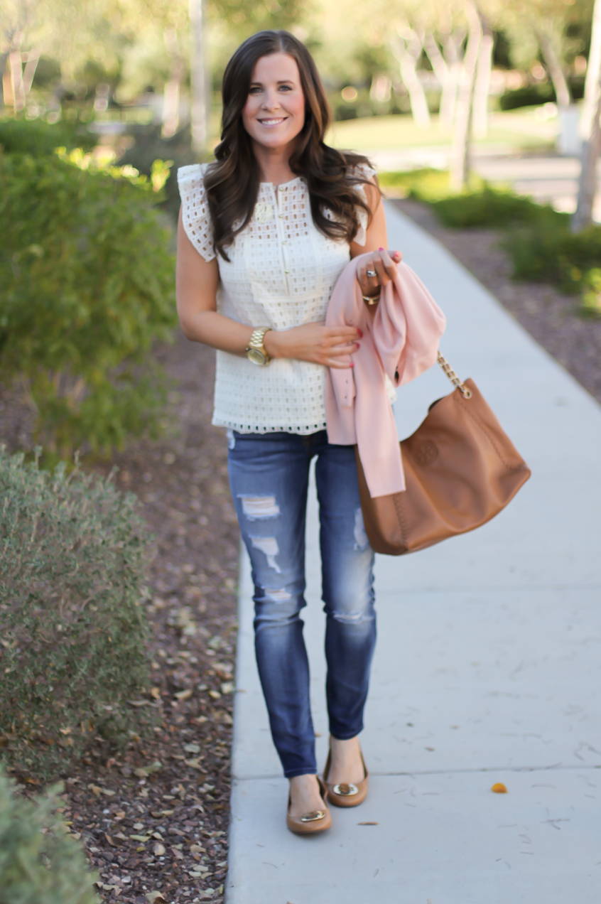 Eyelet Ruffle Sleeve Blouse, Distressed Skinny Jeans, Blush Cashmere Cardigan, Tan Leather Flats, Tan Leather Chain Strap Tote, Banana Republic, 7 for All Mankind, Tory Burch