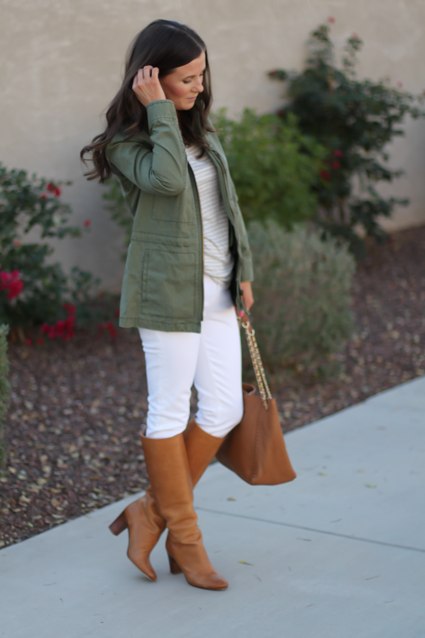 Green Utility Jacket, Grey Striped Tee, White Skinny Jeans, Tan Tote, Tan Boots, Madewell, J.Crew, J Brand, Tory Burch, Maison Margiela 12