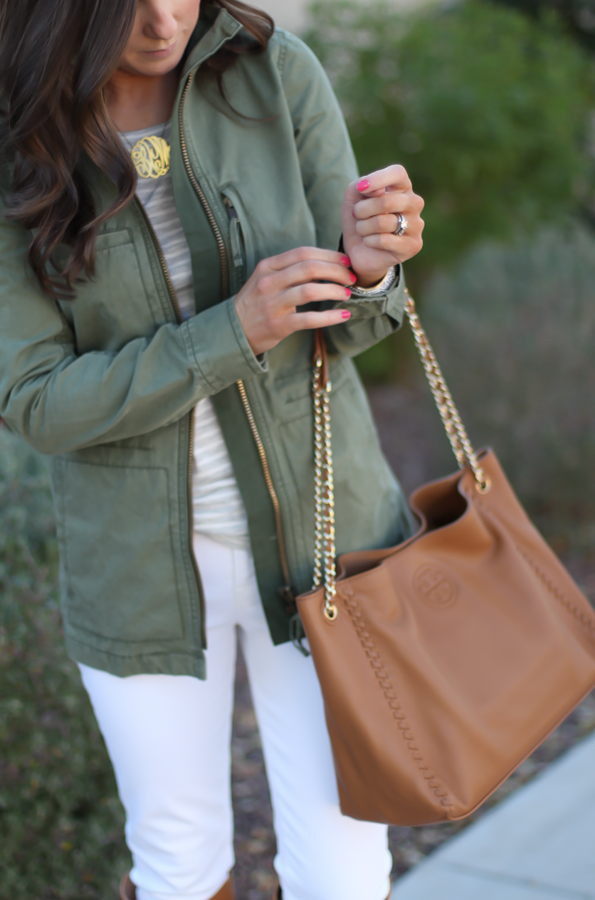 Green Utility Jacket, Grey Striped Tee, White Skinny Jeans, Tan Tote, Tan Boots, Madewell, J.Crew, J Brand, Tory Burch, Maison Margiela 17