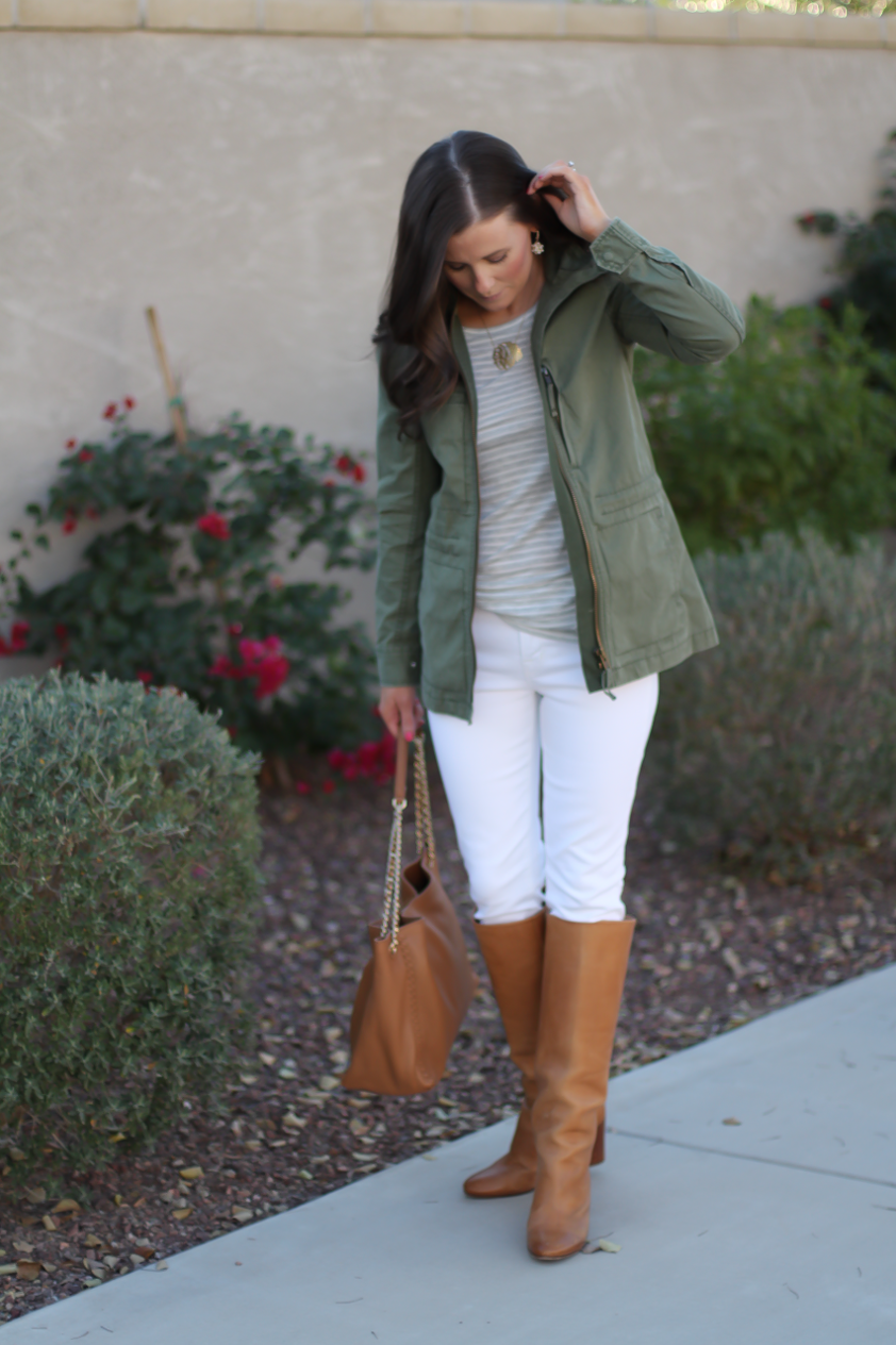 Green Utility Jacket, Grey Striped Tee, White Skinny Jeans, Tan Tote, Tan Boots, Madewell, J.Crew, J Brand, Tory Burch, Maison Margiela 4