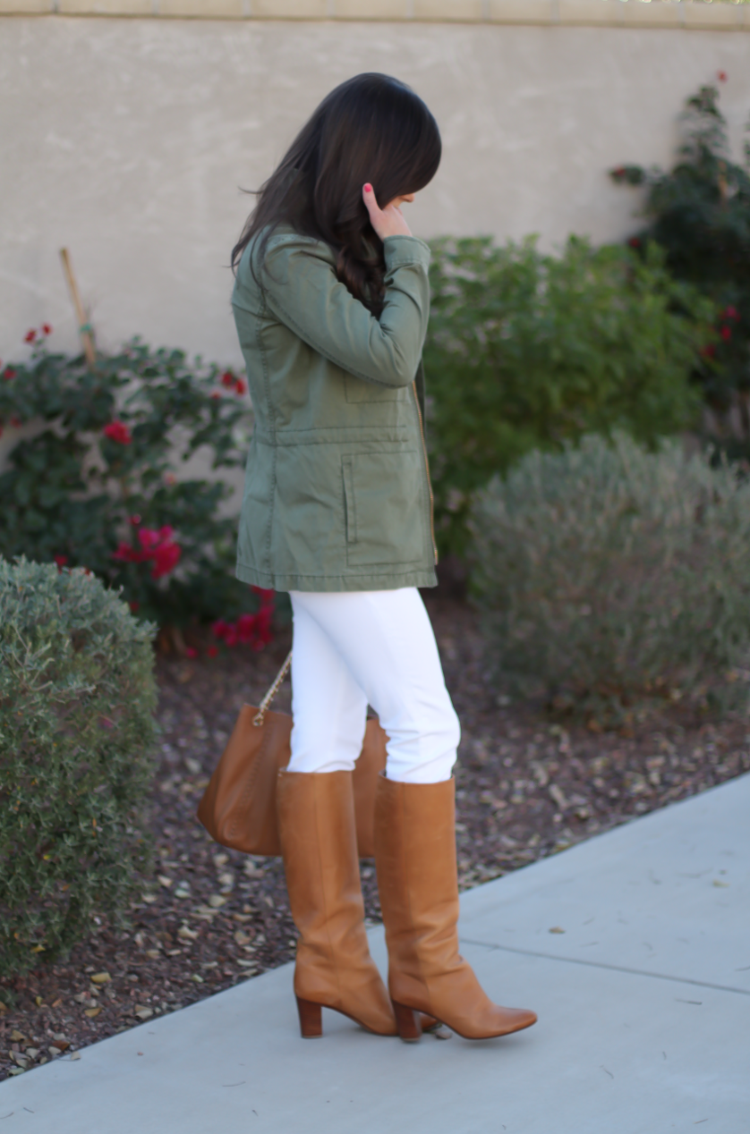 Green Utility Jacket, Grey Striped Tee, White Skinny Jeans, Tan Tote, Tan Boots, Madewell, J.Crew, J Brand, Tory Burch, Maison Margiela 6
