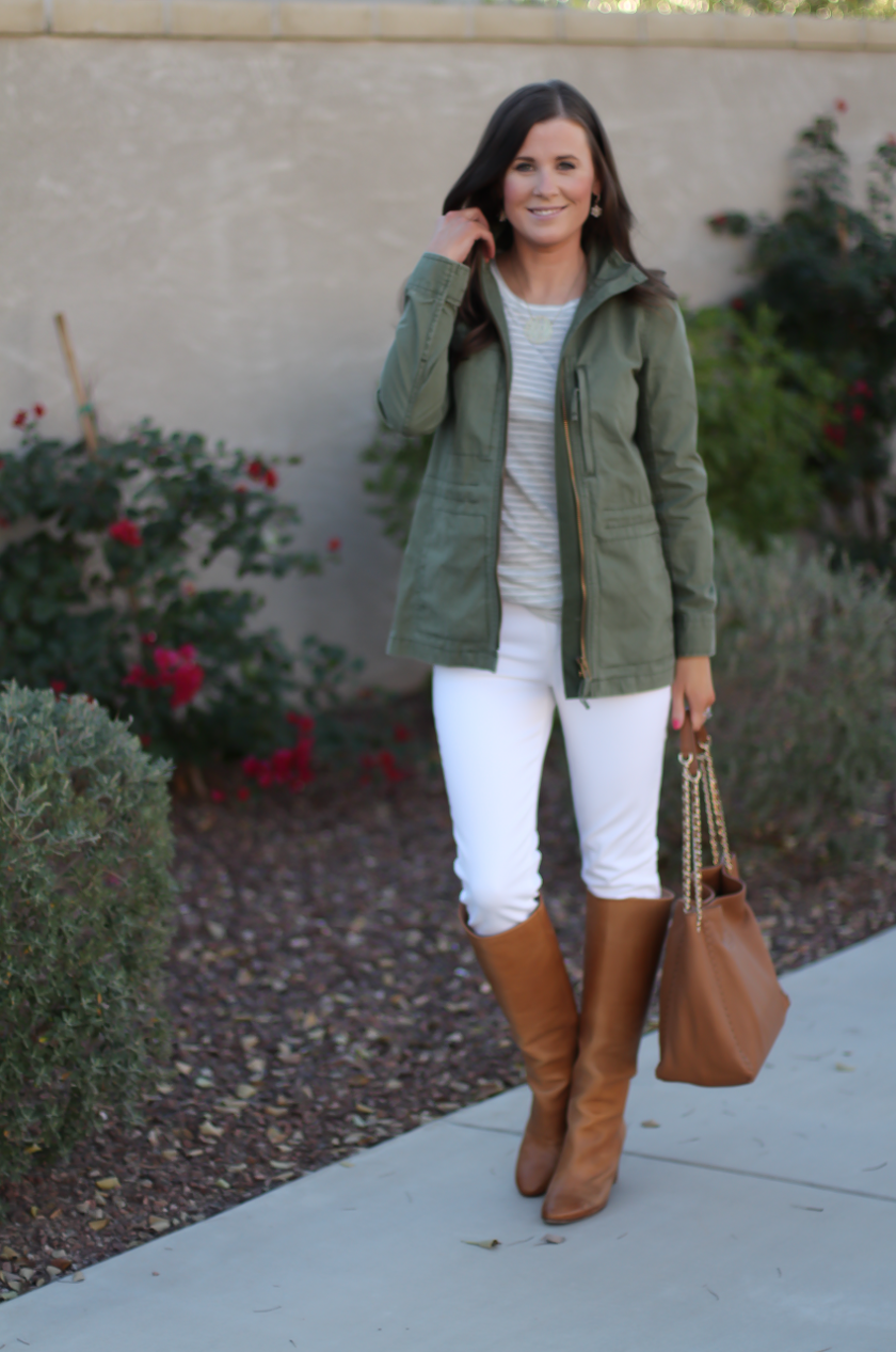 Green Utility Jacket, Grey Striped Tee, White Skinny Jeans, Tan Tote, Tan Boots, Madewell, J.Crew, J Brand, Tory Burch, Maison Margiela 7