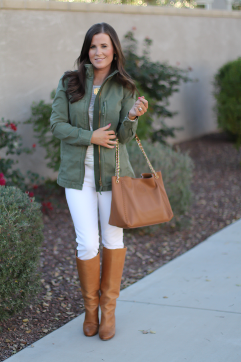 Green Utility Jacket, Grey Striped Tee, White Skinny Jeans, Tan Tote, Tan Boots, Madewell, J.Crew, J Brand, Tory Burch, Maison Margiela