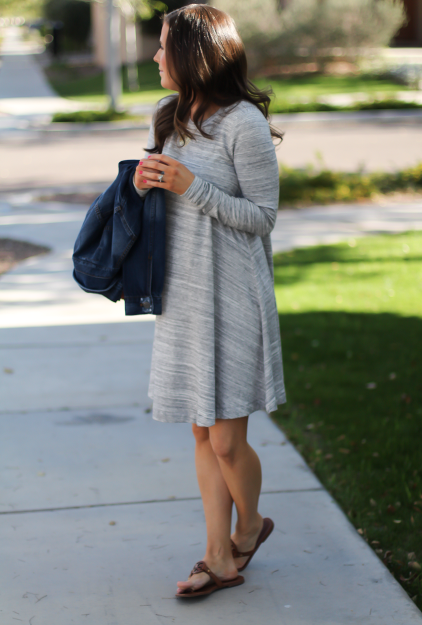 Heathered Grey Knit Swing Dress, Denim Jacket, Tan Leather Sandals, Tan Leather Tote, Loft, Lou and Grey, Banana Republic, Madewell, Tory Burch 11