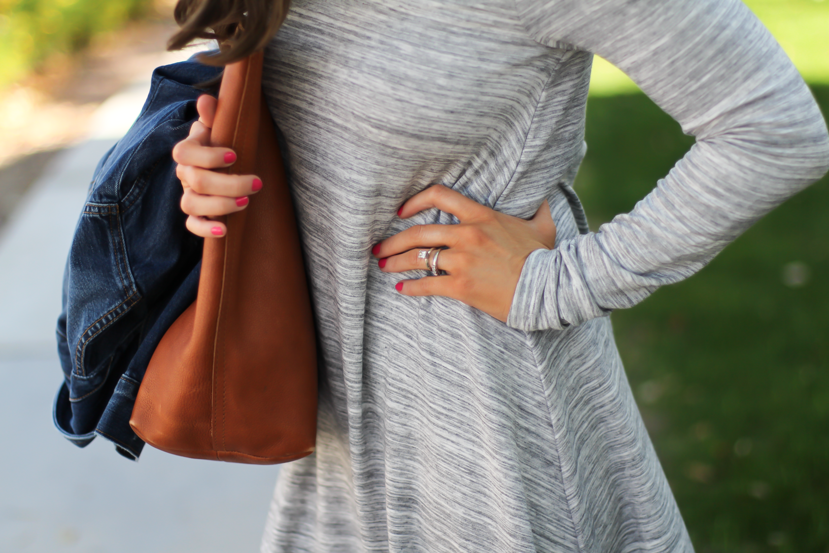 Heathered Grey Knit Swing Dress, Denim Jacket, Tan Leather Sandals, Tan Leather Tote, Loft, Lou and Grey, Banana Republic, Madewell, Tory Burch 17