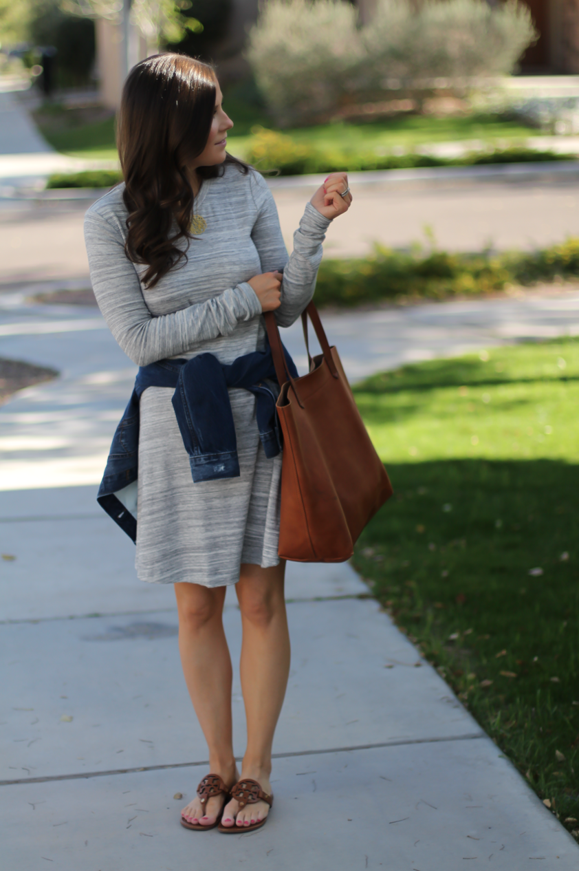 Heathered Grey Knit Swing Dress, Denim Jacket, Tan Leather Sandals, Tan Leather Tote, Loft, Lou and Grey, Banana Republic, Madewell, Tory Burch 8