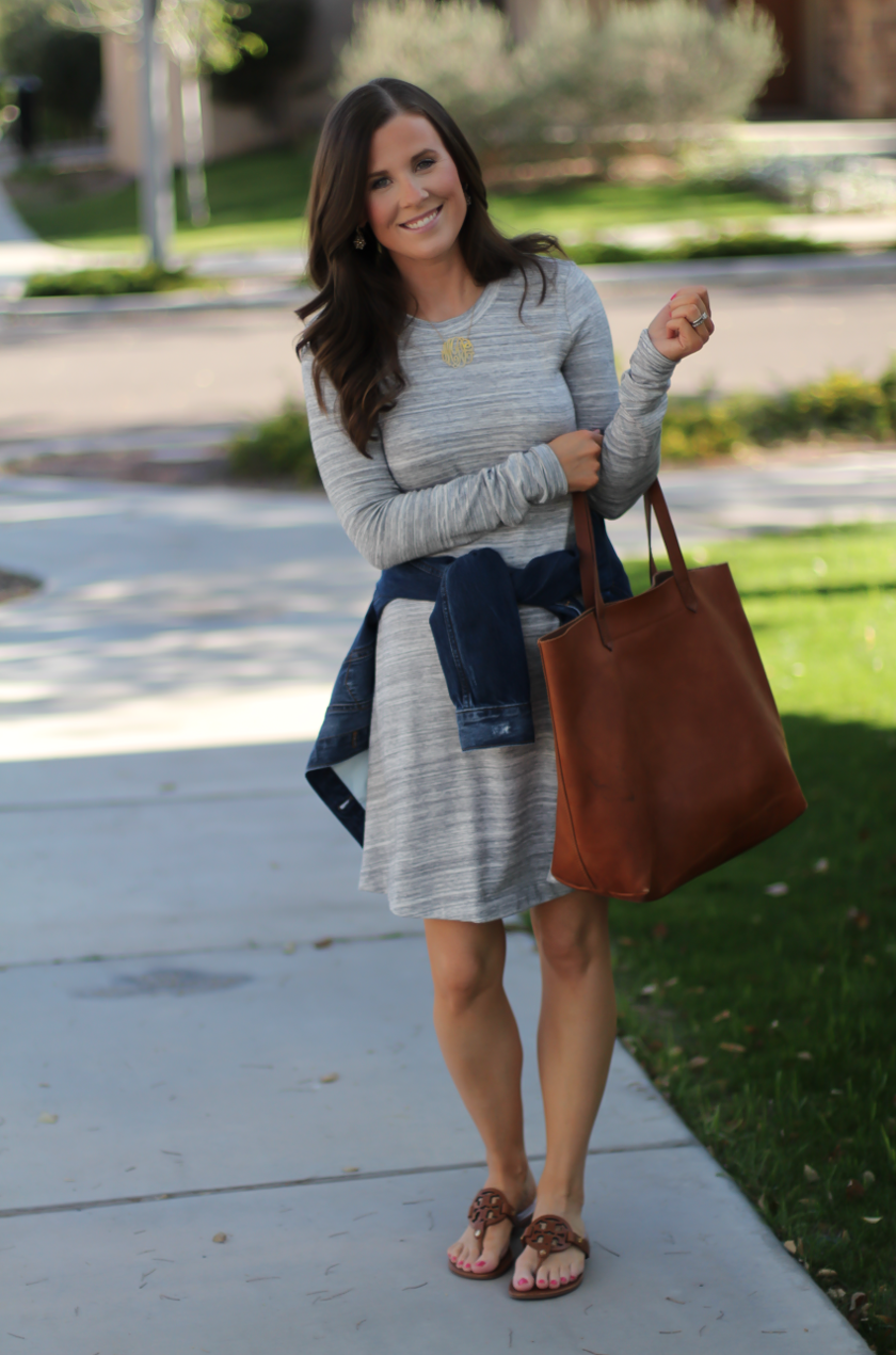 Heathered Grey Knit Swing Dress, Denim Jacket, Tan Leather Sandals, Tan Leather Tote, Loft, Lou and Grey, Banana Republic, Madewell, Tory Burch 9