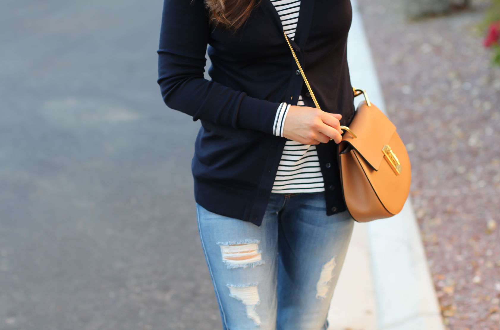 Navy Cotton V Neck Cardigan, Striped Tee, Distressed Skinny Jeans, Tan Flats, Tan Crossbody, J.Cew, 7 for All Mankind, Tory Burch, Chloe