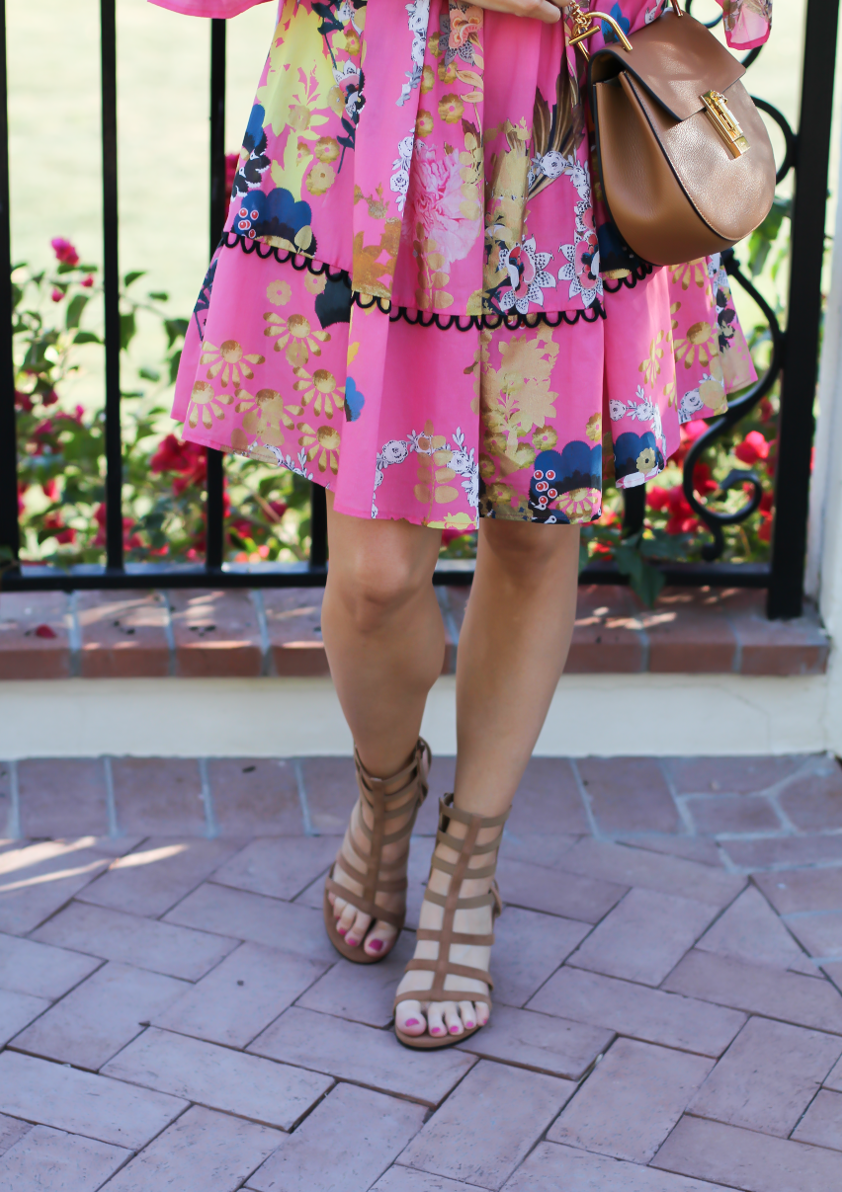 Pink Pintuck Floral Print Dress, Gladiator Sandals, Brown Leather Chain Strap Crossbody Bag, Cynthia Rolwey, Stuart Weitzman, Chloe 2