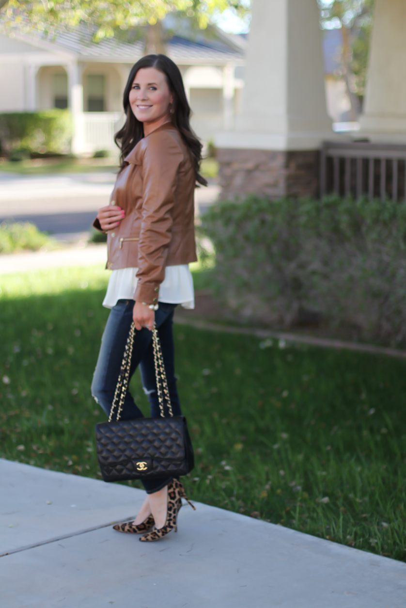 Tan Leather Jacket, Ivory Peplum Blouse, Distressed Skinny Jeans, Leopard Heels, Chain Strap Black Leather Bag, Nordstrom, Banana Republic, Rag and Bone, J.Crew, Chanel 3