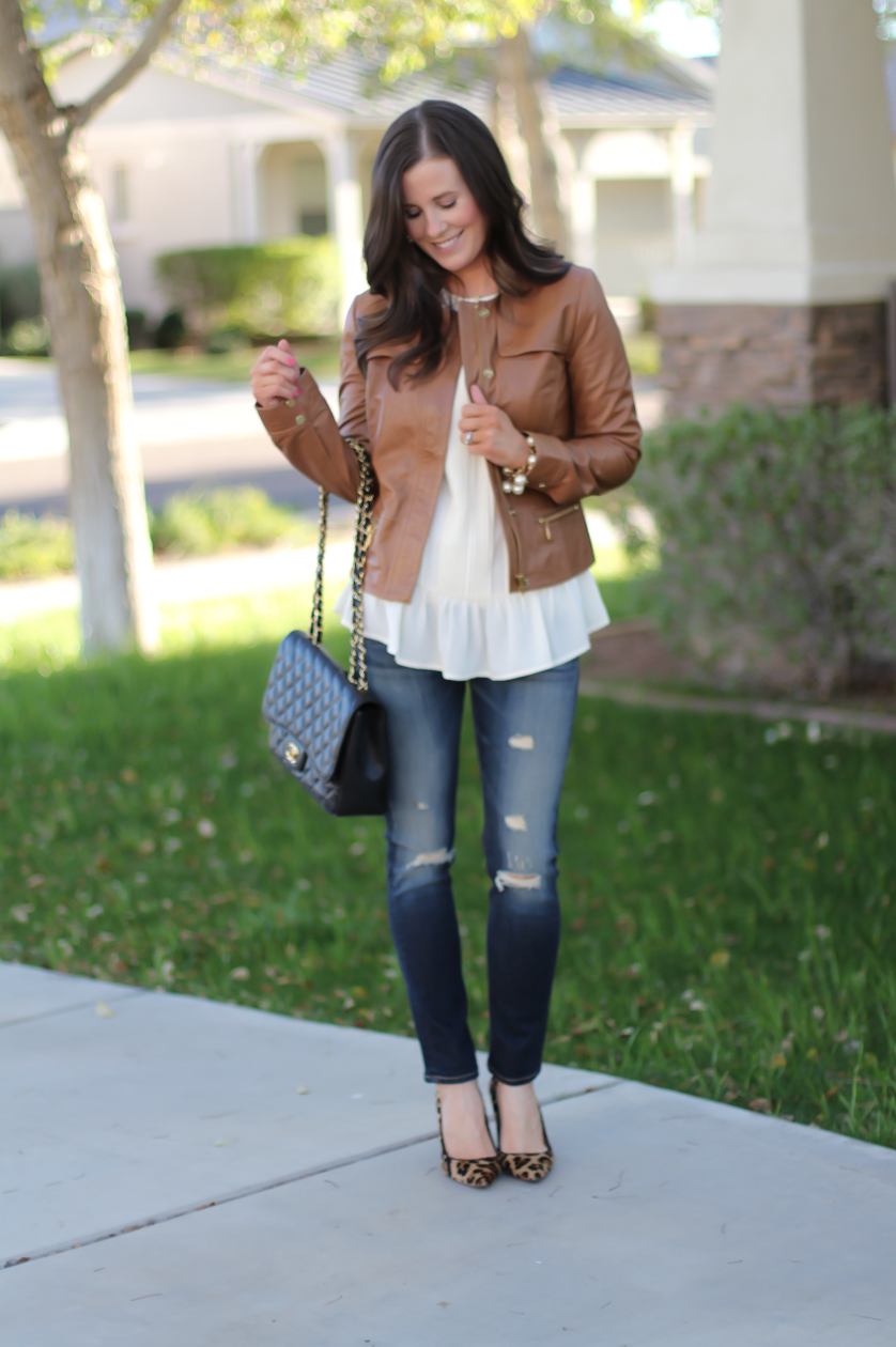 Tan Leather Jacket, Ivory Peplum Blouse, Distressed Skinny Jeans, Leopard Heels, Chain Strap Black Leather Bag, Nordstrom, Banana Republic, Rag and Bone, J.Crew, Chanel 5
