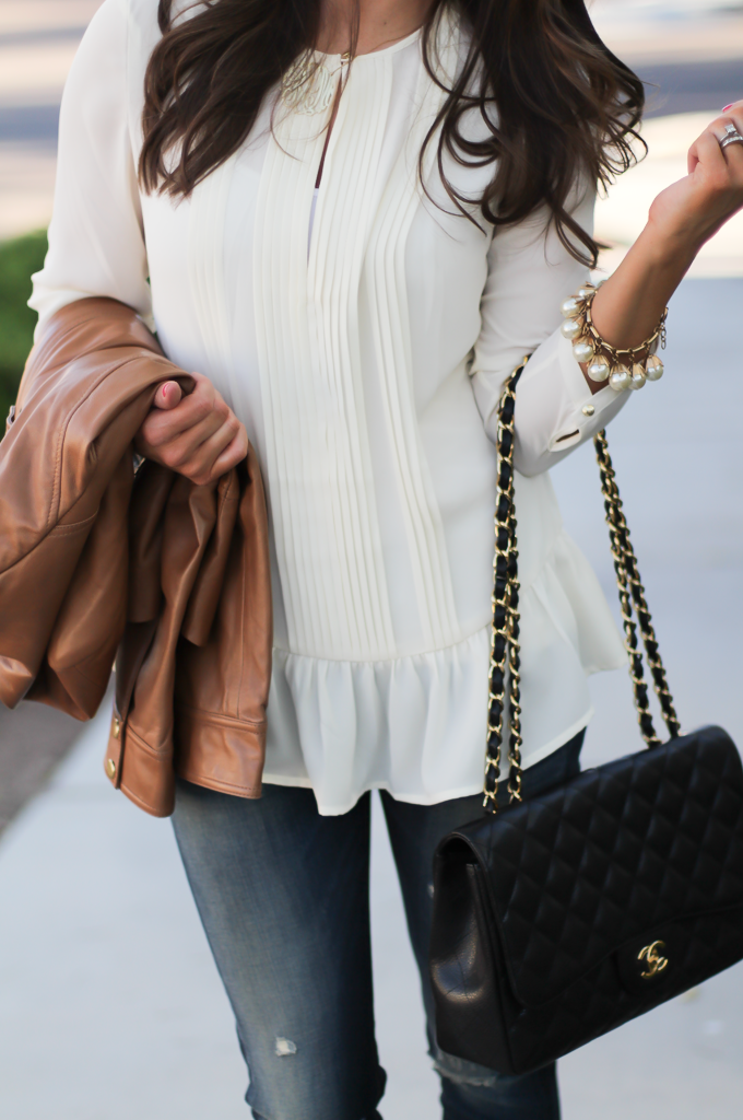 Tan Leather Jacket, Ivory Peplum Blouse, Distressed Skinny Jeans, Leopard Heels, Chain Strap Black Leather Bag, Nordstrom, Banana Republic, Rag and Bone, J.Crew, Chanel 8