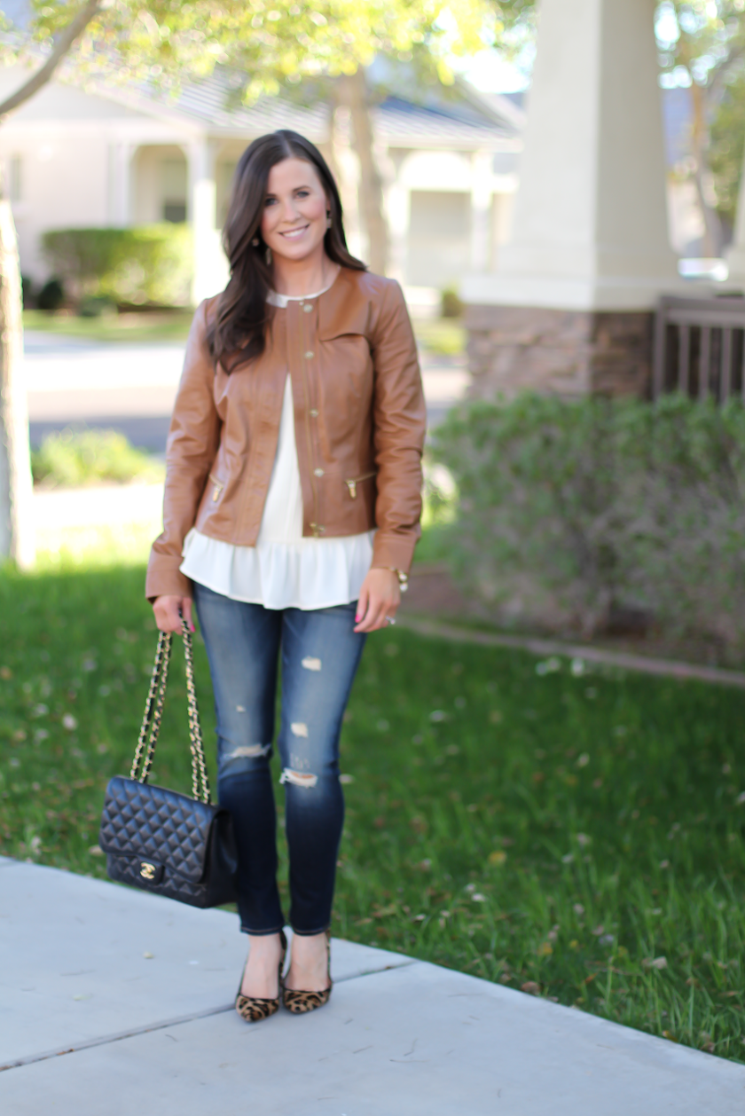 Tan Leather Jacket, Ivory Peplum Blouse, Distressed Skinny Jeans, Leopard Heels, Chain Strap Black Leather Bag, Nordstrom, Banana Republic, Rag and Bone, J.Crew, Chanel