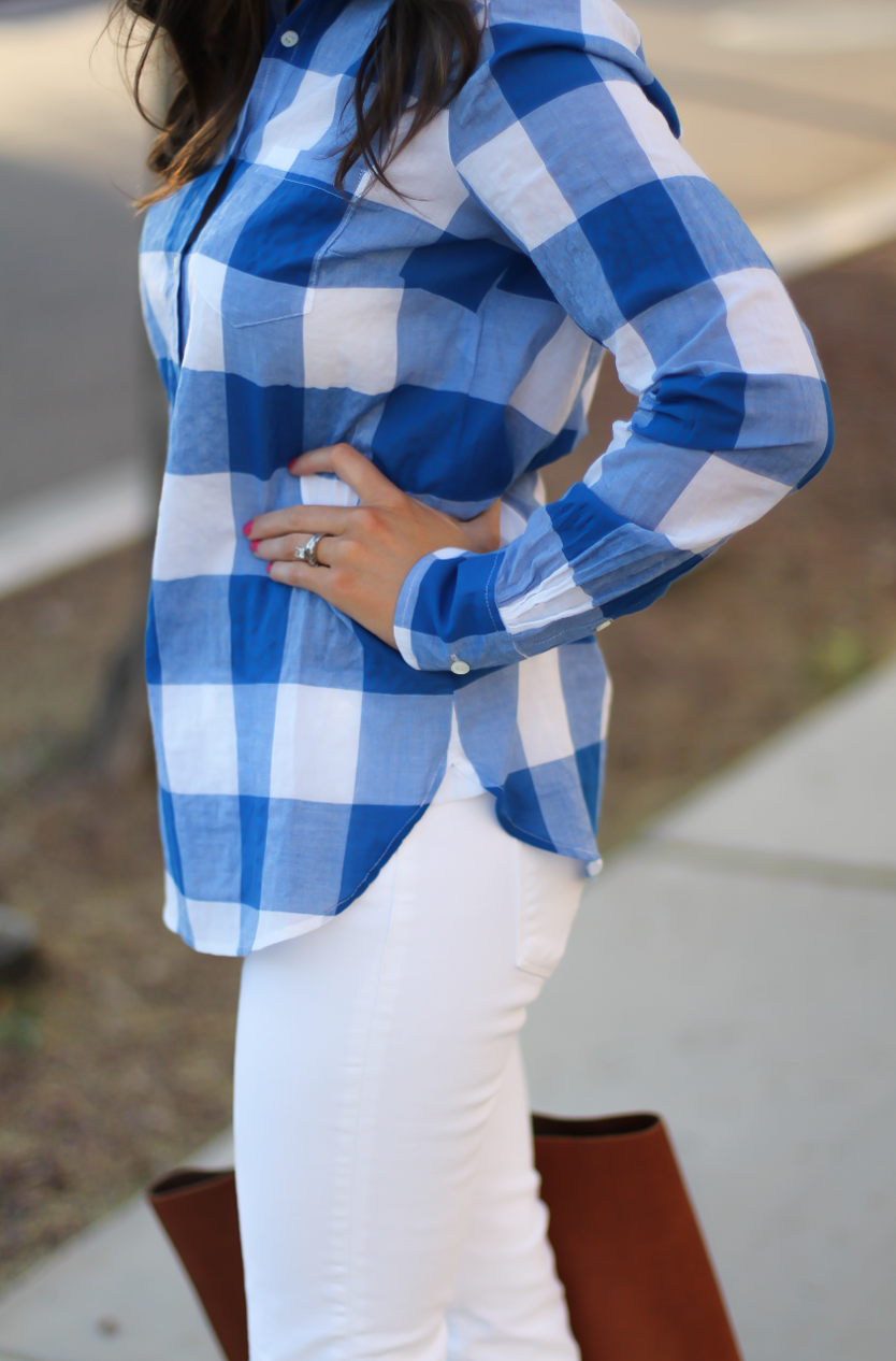 Blue and White Check Shirt, White Crop Distressed Skinny Jeans, Wooden Wedge Leather Sandals, Leather Tote, J.Crew, J Brand, Madewell 11