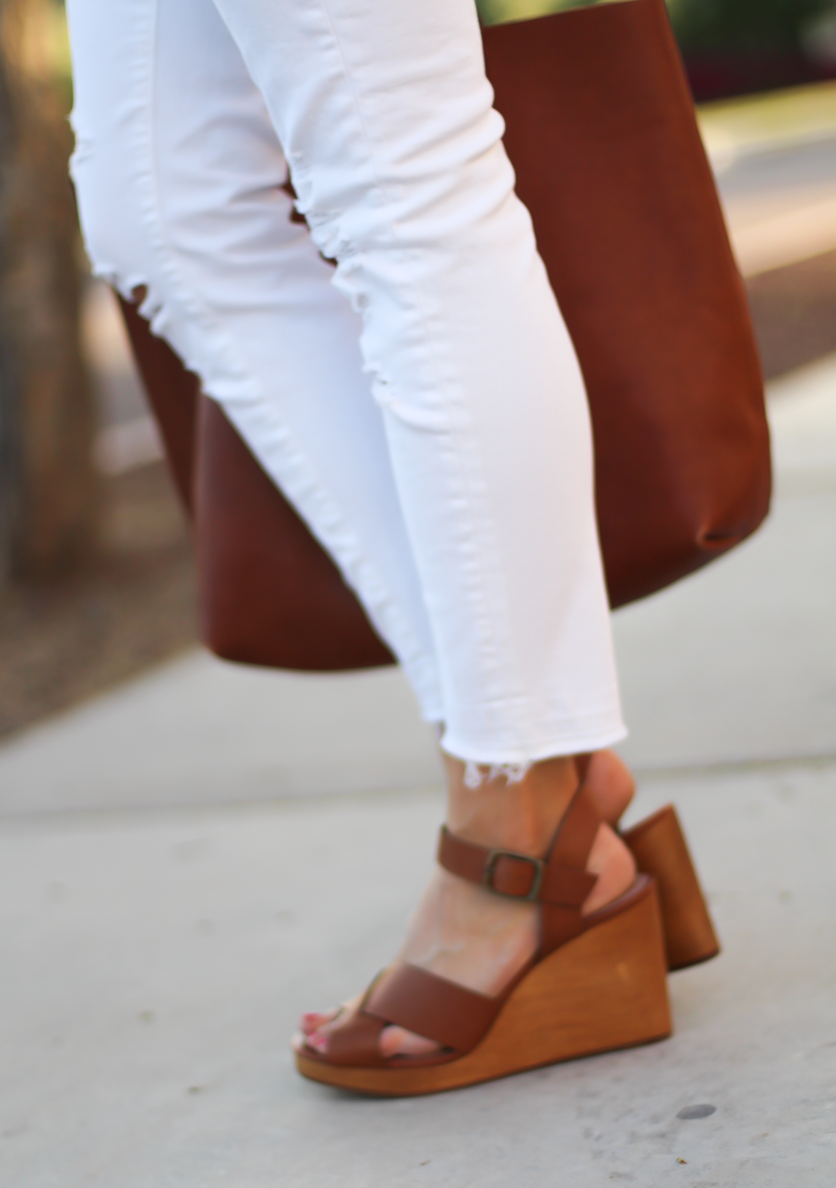 Blue and White Check Shirt, White Crop Distressed Skinny Jeans, Wooden Wedge Leather Sandals, Leather Tote, J.Crew, J Brand, Madewell 13