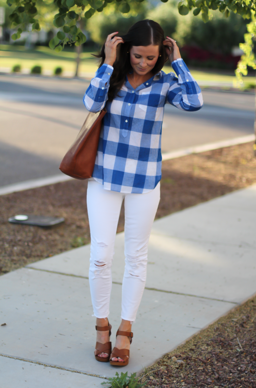 Blue and White Check Shirt, White Crop Distressed Skinny Jeans, Wooden Wedge Leather Sandals, Leather Tote, J.Crew, J Brand, Madewell 2