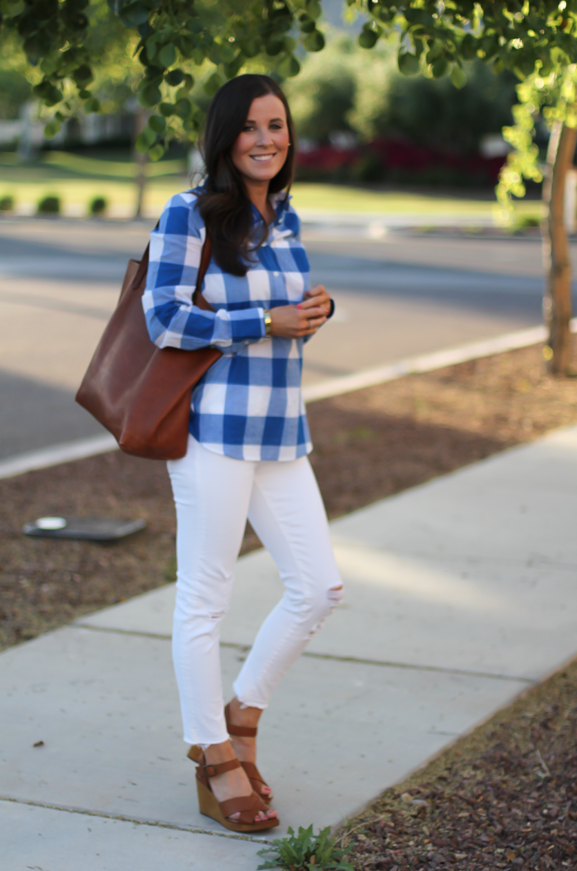 Blue and White Check Shirt, White Crop Distressed Skinny Jeans, Wooden Wedge Leather Sandals, Leather Tote, J.Crew, J Brand, Madewell 3