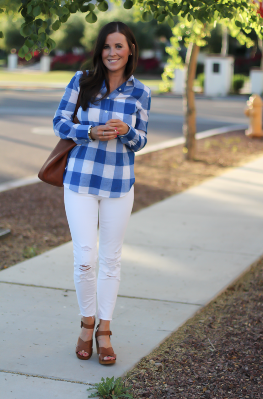 Blue and White Check Shirt, White Crop Distressed Skinny Jeans, Wooden Wedge Leather Sandals, Leather Tote, J.Crew, J Brand, Madewell 4