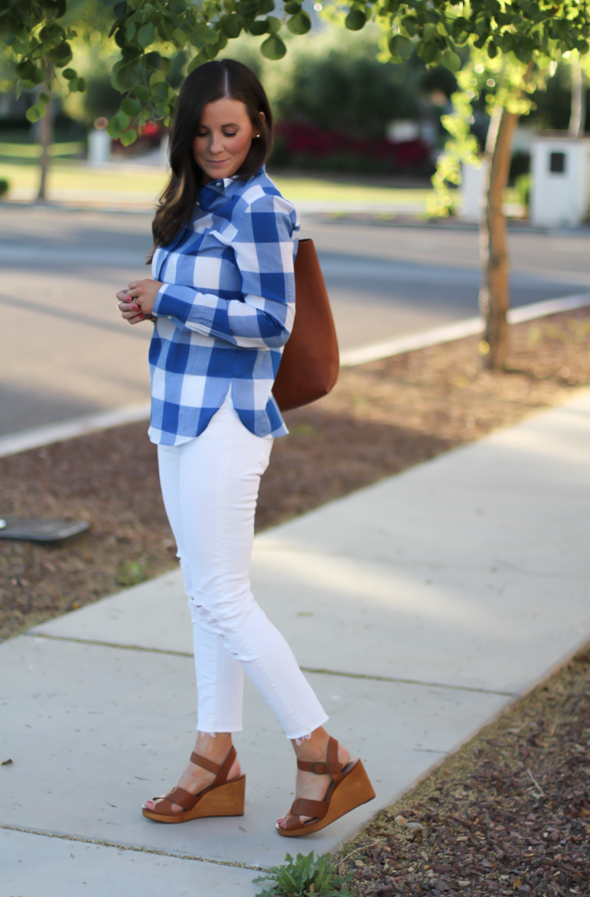 Blue and White Check Shirt, White Crop Distressed Skinny Jeans, Wooden Wedge Leather Sandals, Leather Tote, J.Crew, J Brand, Madewell 5