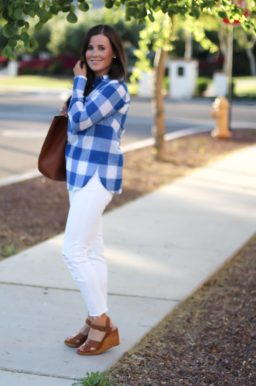 Blue and White Check Shirt, White Crop Distressed Skinny Jeans, Wooden Wedge Leather Sandals, Leather Tote, J.Crew, J Brand, Madewell 6