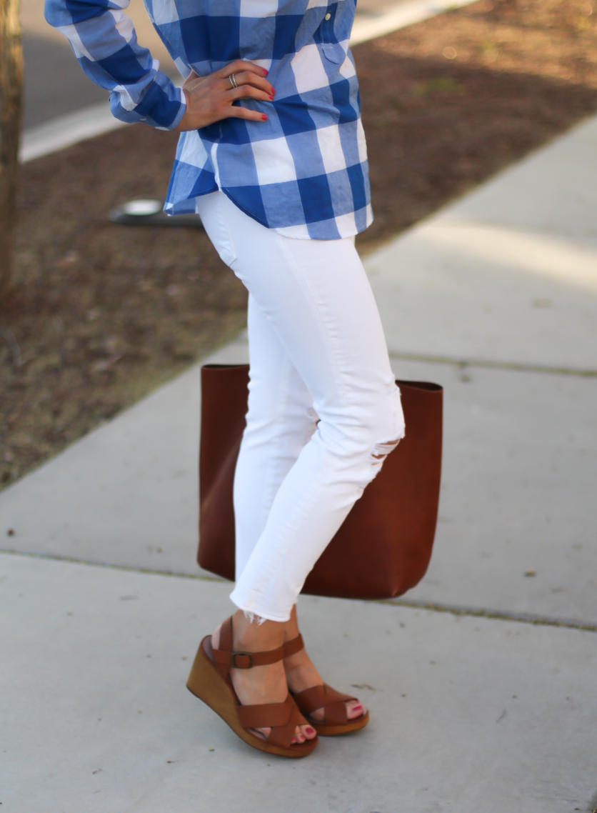 Blue and White Check Shirt, White Crop Distressed Skinny Jeans, Wooden Wedge Leather Sandals, Leather Tote, J.Crew, J Brand, Madewell 8