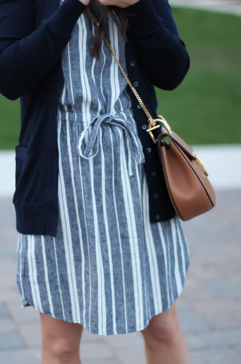 Blue And White Stripes Casual Ootd