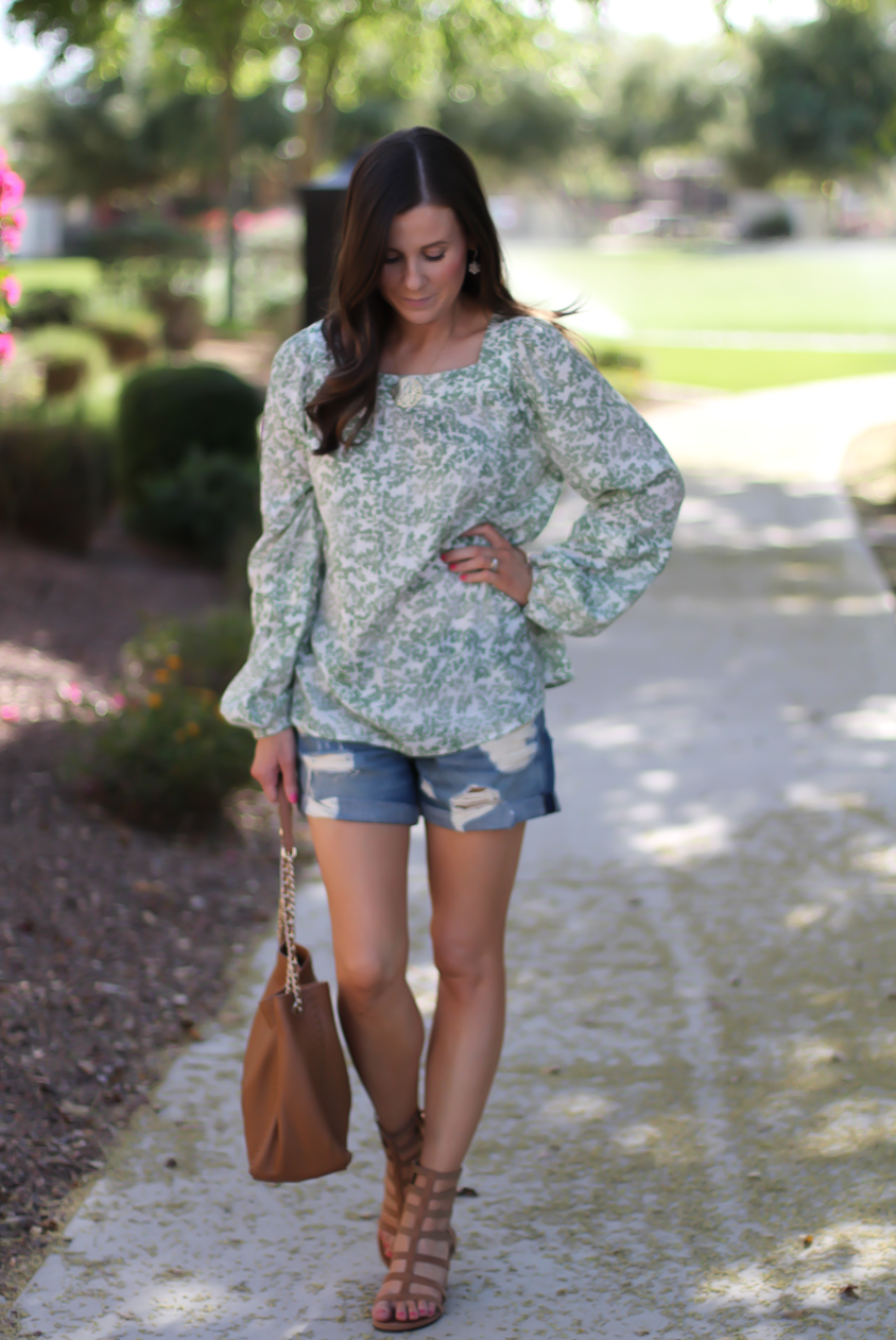 Gren Floral Peasant Blouse, Distressed Denim Shorts, Gladiator Sandals, Tan Chain Strap Tote, Kohls, Lauren Conrad, Rag and Bone, Stuart Weitzman, Tory Burch 7