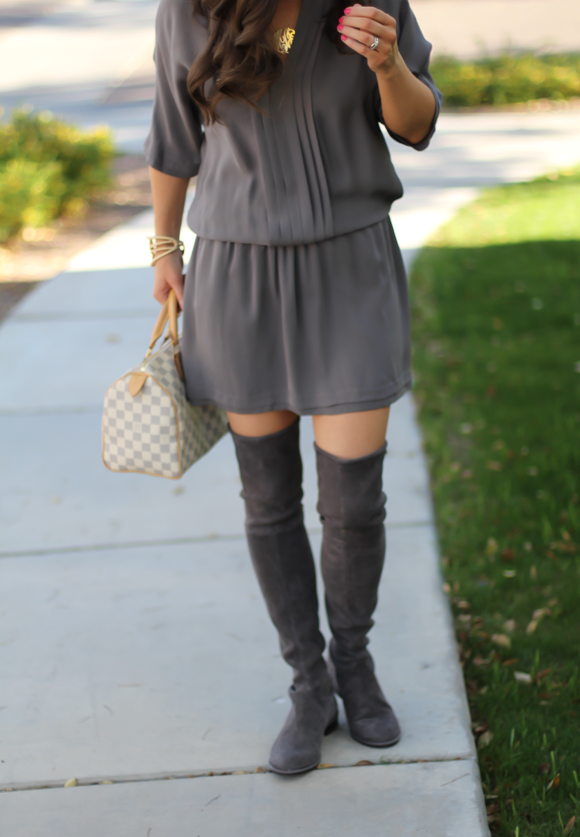 Grey Silk Dress, Grey Suede Over the Knee Boots, Grey and Ivory Bag, Joie, Stuart Weitzman, Louis Vuitton 3