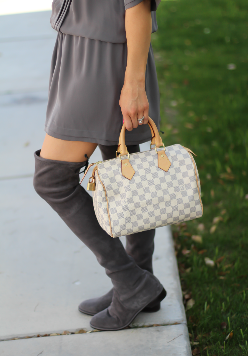 Grey Silk Dress, Grey Suede Over the Knee Boots, Grey and Ivory Bag, Joie, Stuart Weitzman, Louis Vuitton 5