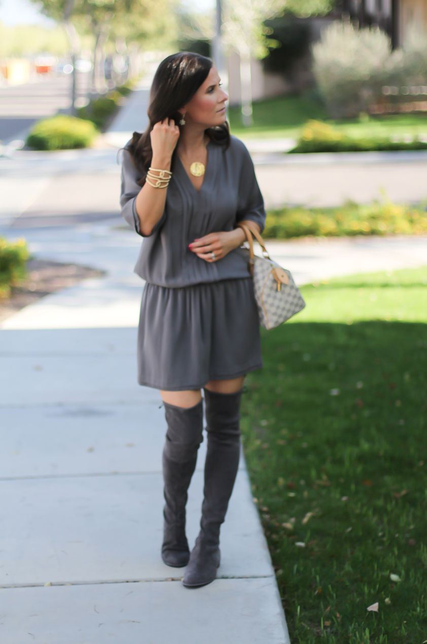 Grey Silk Dress, Grey Suede Over the Knee Boots, Grey and Ivory Bag, Joie, Stuart Weitzman, Louis Vuitton