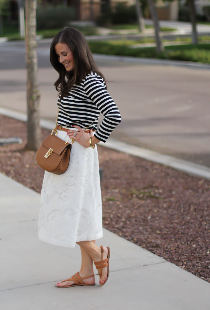 Lace White Midi Skirt, Black and White Striped Tee, Tan Leather Sandals, Tan Chain Strap Crossbody, J.Crew, Joie, Chloe 6