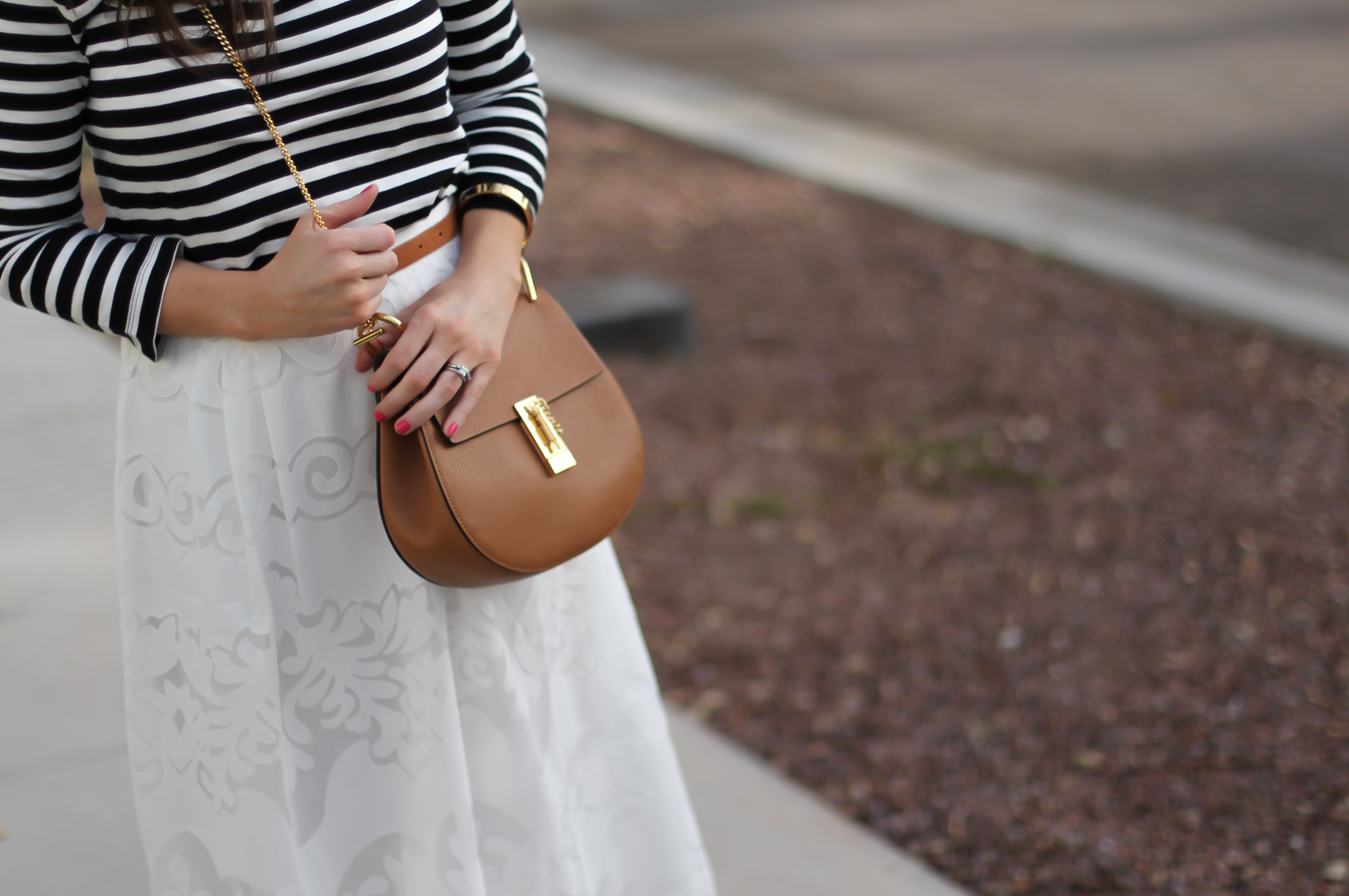 Lace White Midi Skirt, Black and White Striped Tee, Tan Leather Sandals, Tan Chain Strap Crossbody, J.Crew, Joie, Chloe 7