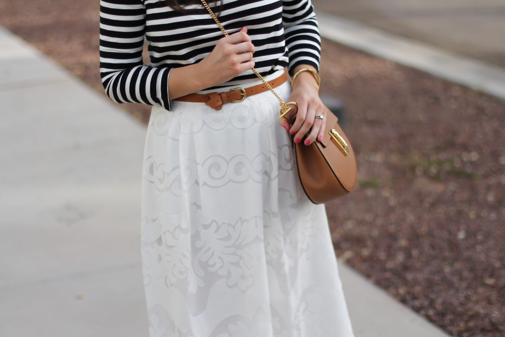Lace White Midi Skirt, Black and White Striped Tee, Tan Leather Sandals, Tan Chain Strap Crossbody, J.Crew, Joie, Chloe 8