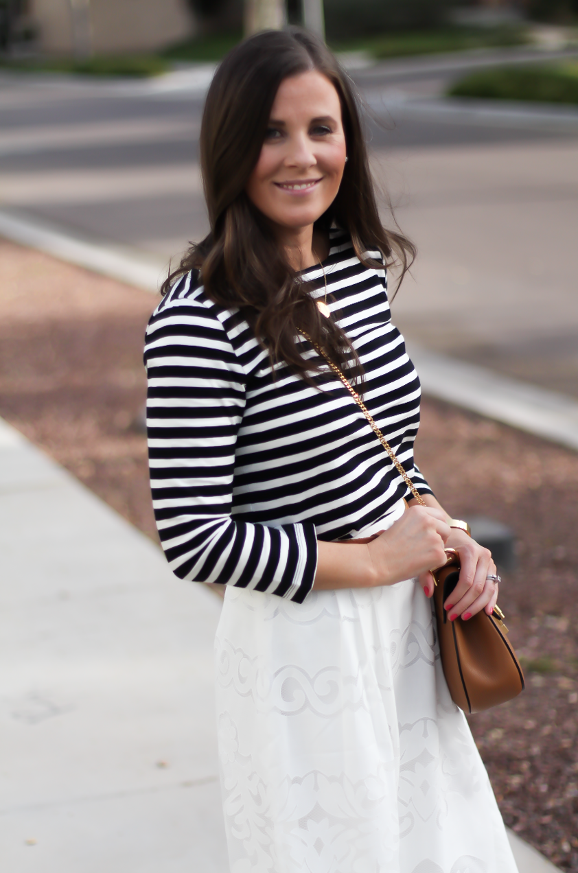 Lace White Midi Skirt, Black and White Striped Tee, Tan Leather Sandals, Tan Chain Strap Crossbody, J.Crew, Joie, Chloe 9