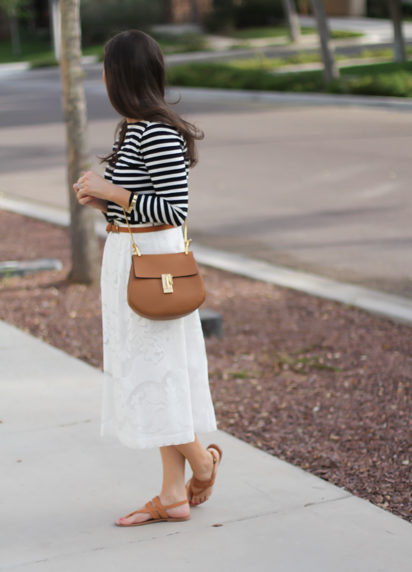 Lace White Midi Skirt, Black and White Striped Tee, Tan Leather Sandals, Tan Chain Strap Crossbody, J.Crew, Joie, Chloe