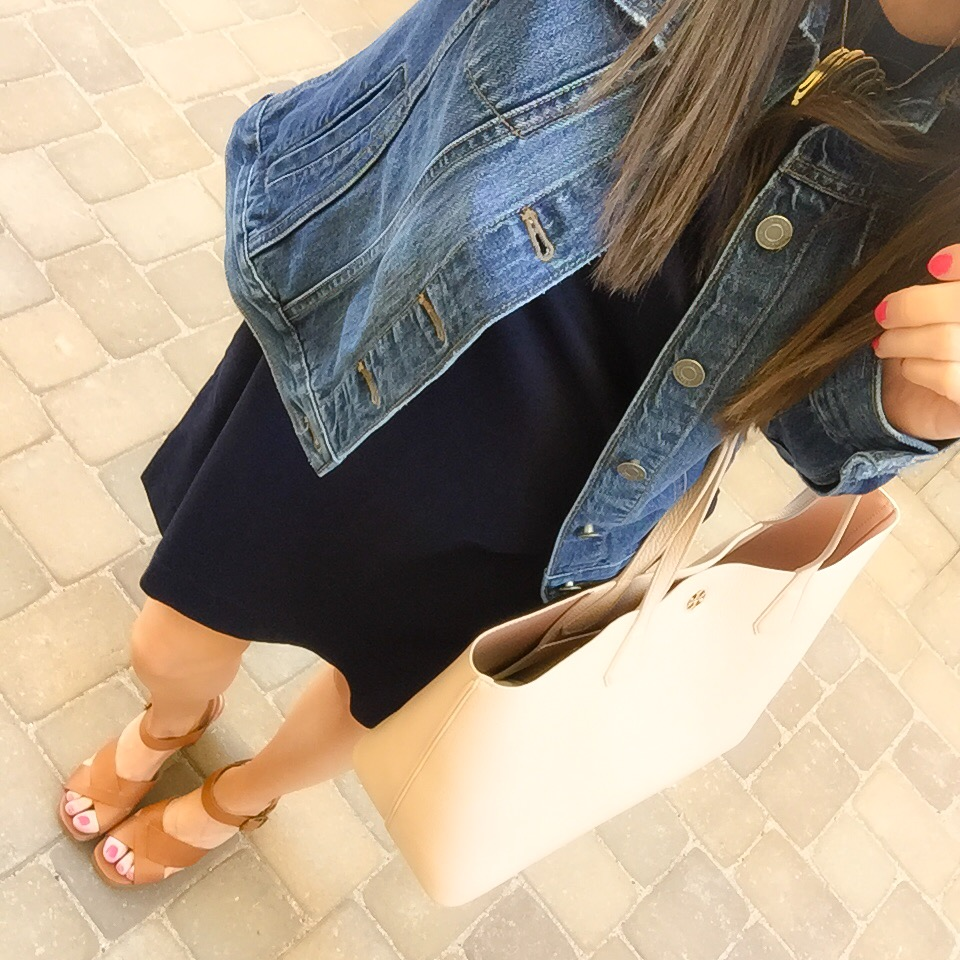 Navy Dress Denim Jacket Wedge Sandals