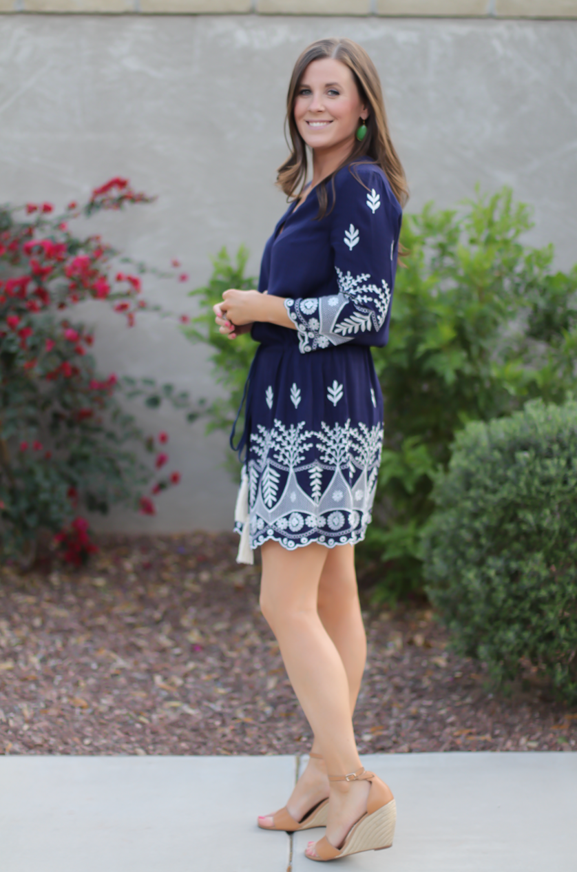 Navy Embroidered Dress   Spring and Summer Inspiration
