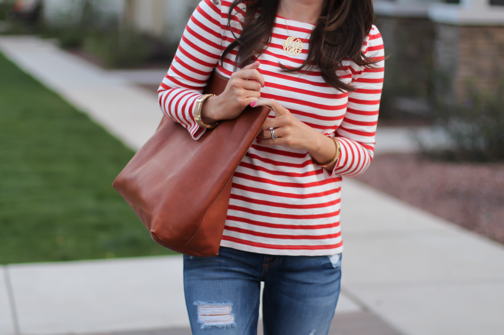 Red Striped Boatneck Tee, Distressed Skinny Jeans, Cognac Leather Flip Flop Sandals, Cognac Tote, J.Crew, 7 for All Mankind, Madewell 11