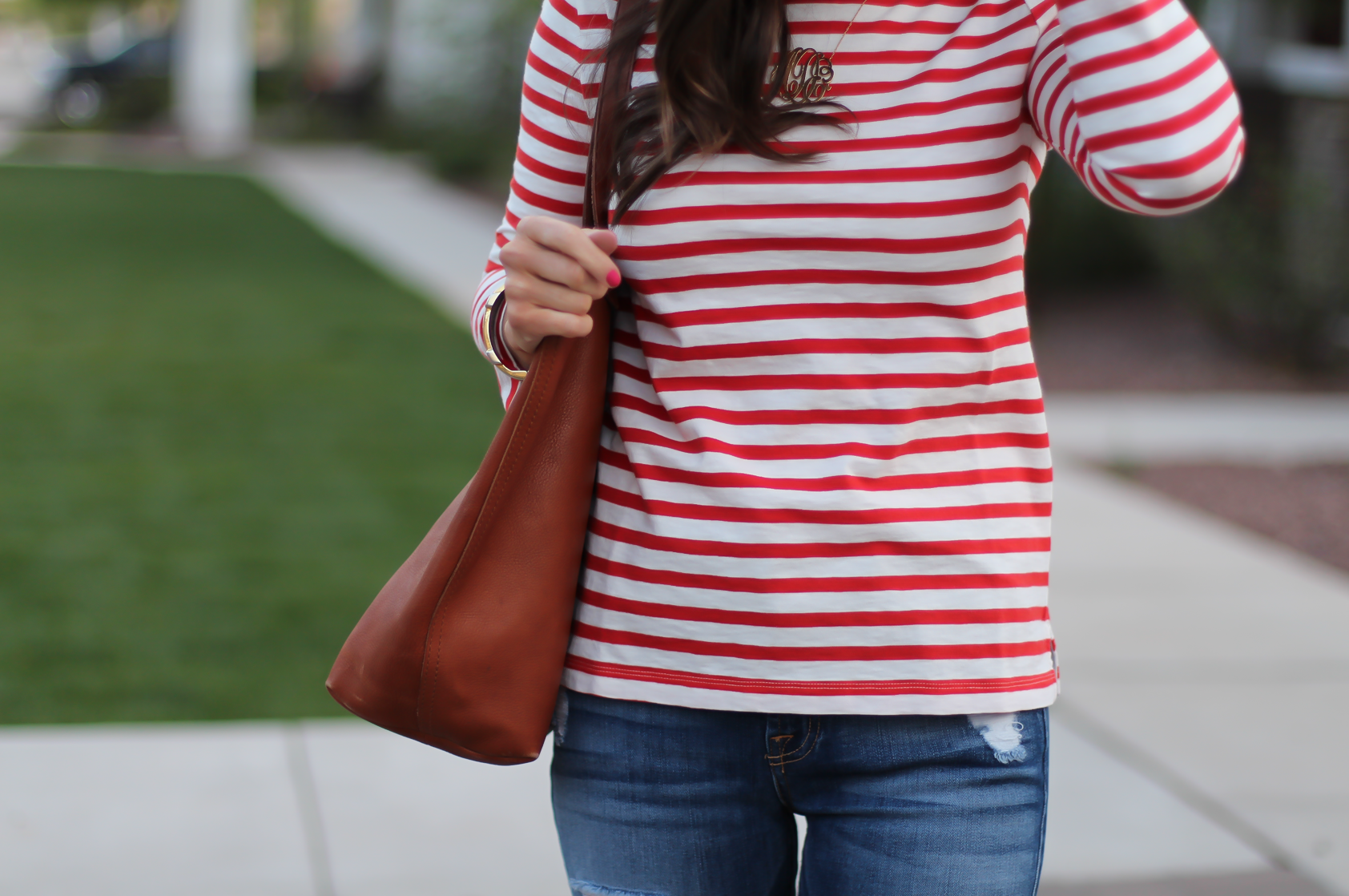 Red Striped Boatneck Tee, Distressed Skinny Jeans, Cognac Leather Flip Flop Sandals, Cognac Tote, J.Crew, 7 for All Mankind, Madewell 14