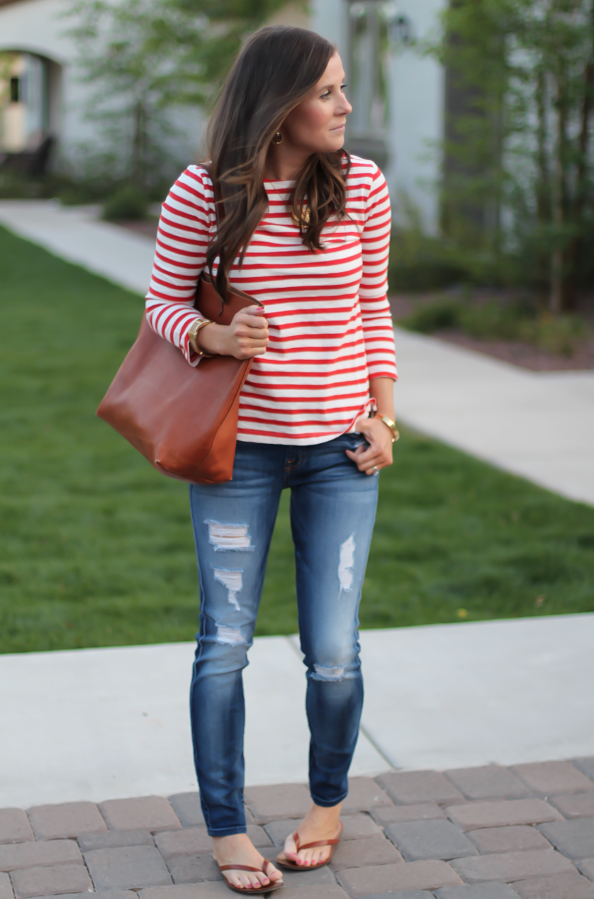 Red Striped Boatneck Tee, Distressed Skinny Jeans, Cognac Leather Flip Flop Sandals, Cognac Tote, J.Crew, 7 for All Mankind, Madewell 3