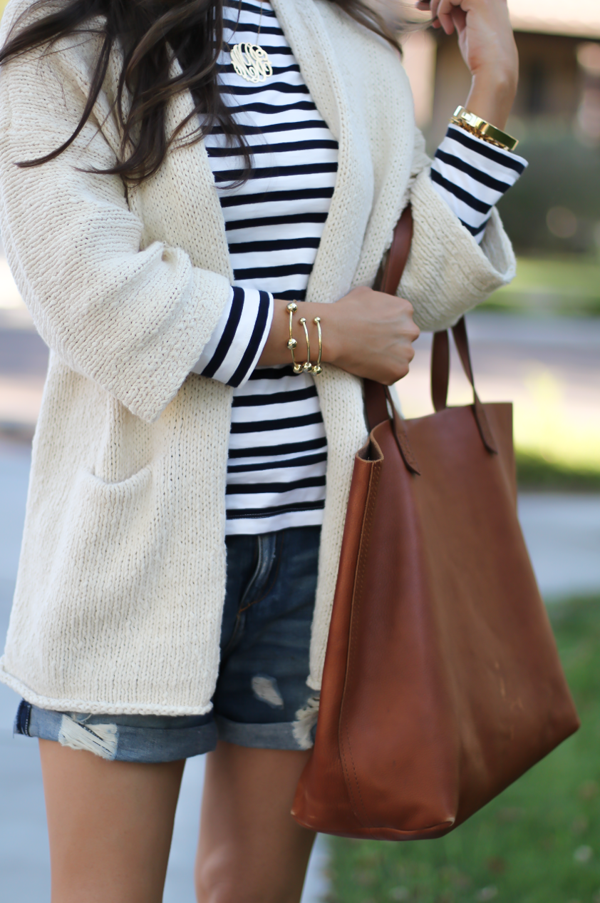 Beige Summer Sweater, Striped Tee, Distressed Denim Shorts, Red Espadrille Sandals, Tan Leather Tote 2