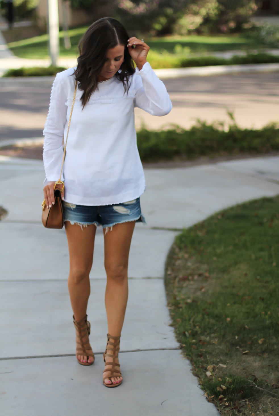 Denim Cutoff Jean Shorts, White Linen Blouse, Gladiator Wedge Sandals, Chain Strap Leather Crossbody Bag, Rag and Bone, J.Crew, Stuart Weitzman, Chloe 11