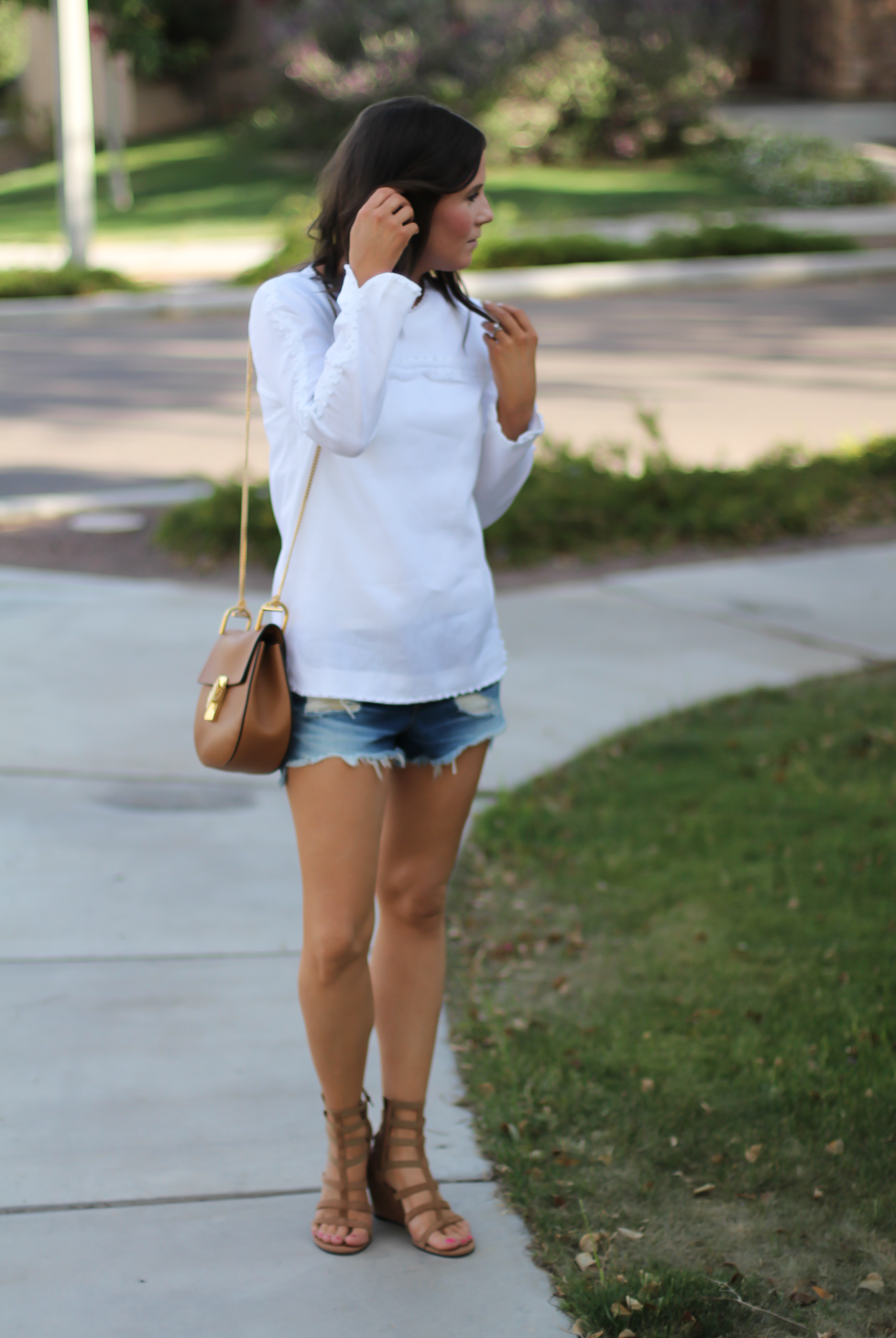 Denim Cutoff Jean Shorts, White Linen Blouse, Gladiator Wedge Sandals, Chain Strap Leather Crossbody Bag, Rag and Bone, J.Crew, Stuart Weitzman, Chloe 12