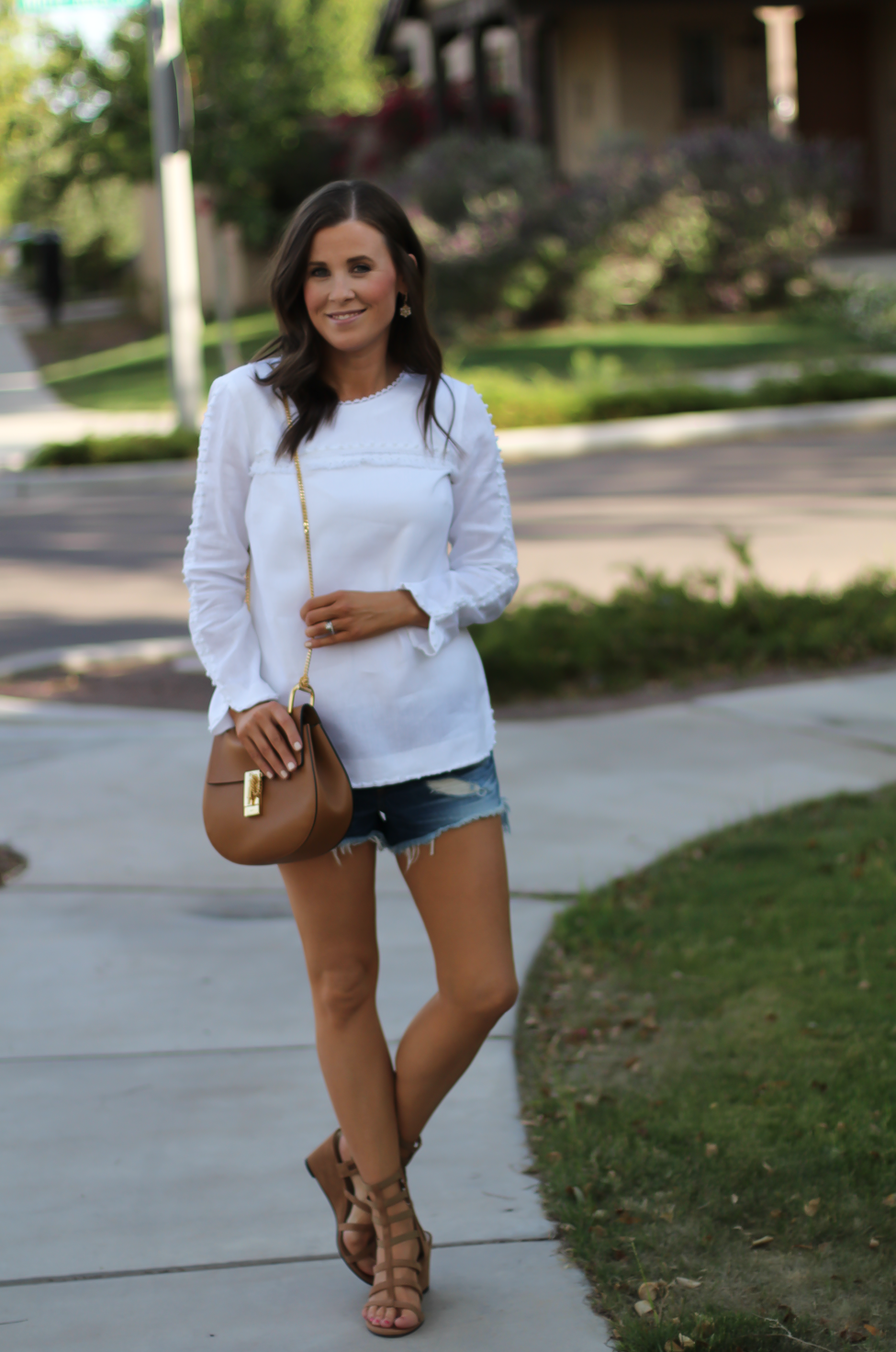 Denim Cutoff Jean Shorts, White Linen Blouse, Gladiator Wedge Sandals, Chain Strap Leather Crossbody Bag, Rag and Bone, J.Crew, Stuart Weitzman, Chloe 15
