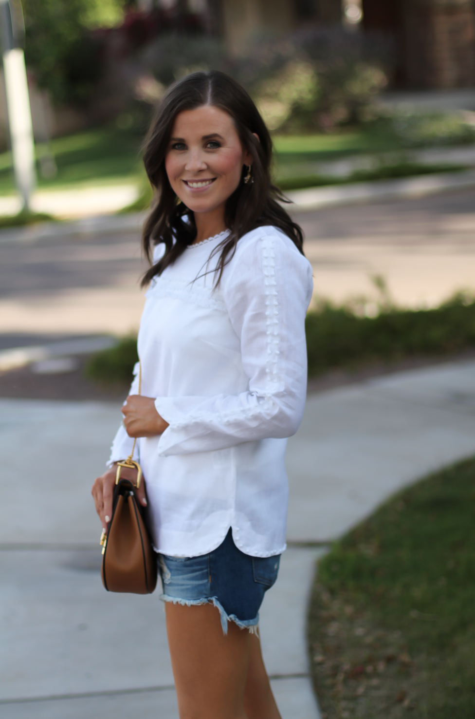 Denim Cutoffs Crisp White Blouse