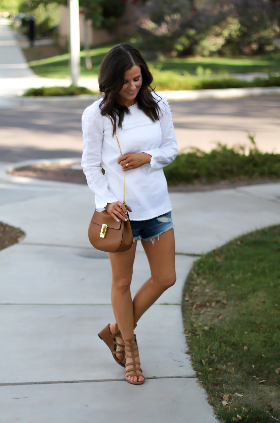 Denim Cutoff Jean Shorts, White Linen Blouse, Gladiator Wedge Sandals, Chain Strap Leather Crossbody Bag, Rag and Bone, J.Crew, Stuart Weitzman, Chloe 3