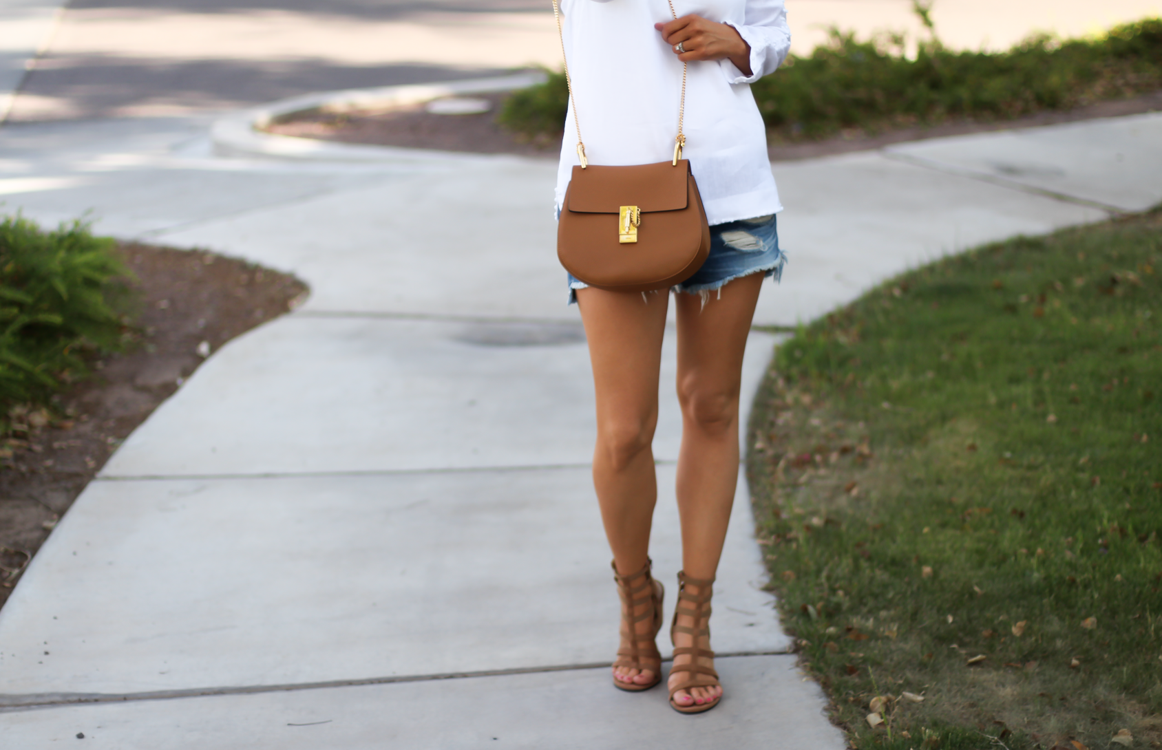 Denim Cutoff Jean Shorts, White Linen Blouse, Gladiator Wedge Sandals, Chain Strap Leather Crossbody Bag, Rag and Bone, J.Crew, Stuart Weitzman, Chloe 7