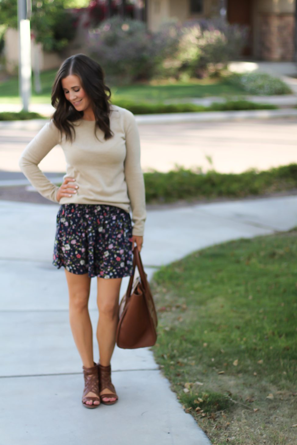 Navy Floral Shorts, Tan Cashmere Sweater, Brown Gladiator Sandals, Brown Leather Tote, Rebecca Taylor, J.Crew, Candies, Celine 3